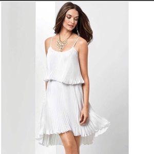 Cache White Pleated Layered Dress